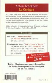 La Cerisaie - 4ème de couverture - Format classique
