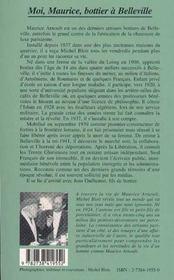 Moi, Maurice, Bottier A Belleville - 4ème de couverture - Format classique