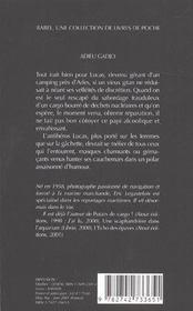 Adieu gadjo babel 479 - 4ème de couverture - Format classique