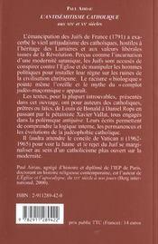 Antisemitisme catholique des 19eme et 20eme siecles - 4ème de couverture - Format classique