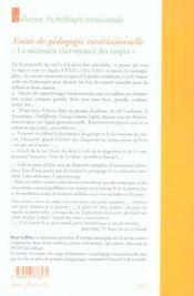 Essais de pedagogie institutionnelle - 4ème de couverture - Format classique