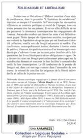 Solidarisme et libéralisme - 4ème de couverture - Format classique