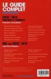 Excel 2010 ; fonctions et formules & VBA pour Excel 2010 - 4ème de couverture - Format classique