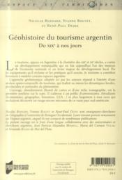 Géohistoire du tourisme argentin ; du XIXe à nos jours - 4ème de couverture - Format classique