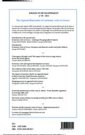 REGION ET DEVELOPPEMENT T.39 ; la dimension régionales de la crise en Grèce - Couverture - Format classique