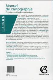 Manuel de cartographie ; concepts, enjeux, mises en pratiques - 4ème de couverture - Format classique
