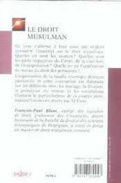 Le droit musulman (2e édition) - 4ème de couverture - Format classique