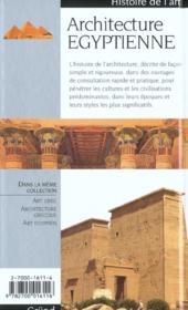 L'Architecture Egyptienne - 4ème de couverture - Format classique