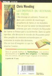 Les disparus du royaume de faerie - 4ème de couverture - Format classique