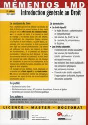 Introduction générale au droit ; édition 2011-2012 - 4ème de couverture - Format classique