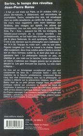 Sartre, le temps des révoltes - 4ème de couverture - Format classique