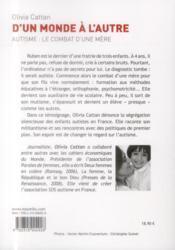 D'un monde à l'autre ; autisme : le combat d'une mère - 4ème de couverture - Format classique