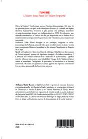Tunisie, l'islam local face à l'islam importé - 4ème de couverture - Format classique