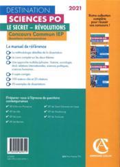 Questions contemporaines ; concours commun IEP ; le secret, révolutions (édition 2021) - 4ème de couverture - Format classique
