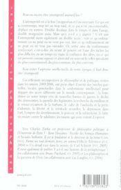 Réflexions intempestives de philosophie et de politique - 4ème de couverture - Format classique