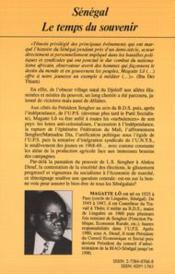 Sénégal, le temps du souvenir - 4ème de couverture - Format classique