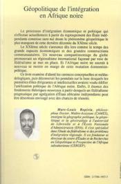 Geopolitique De L'Integration En Afrique Noire - 4ème de couverture - Format classique