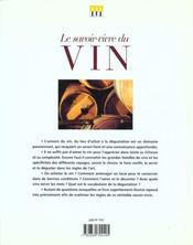 Savoir-Vivre Du Vin (Le) - 4ème de couverture - Format classique