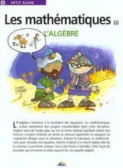 Petit Guide T.43 ; Les Mathématiques ; L'Algèbre - Intérieur - Format classique