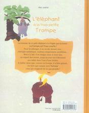 L'éléphant à la trop petite trompe - 4ème de couverture - Format classique