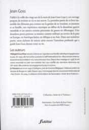 Jean Goss, mystique et militant de la non-violence - 4ème de couverture - Format classique