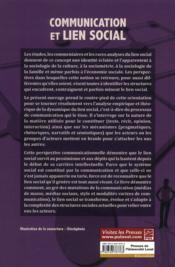 Communication et lien social ; aux fondements de la sociabilité - 4ème de couverture - Format classique
