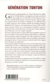 Génération tonton - 4ème de couverture - Format classique