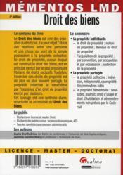 Droit des biens (4e édition) - 4ème de couverture - Format classique
