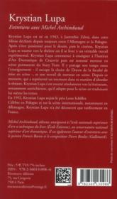 Krystian Lupa ; entretiens avec Michel Archimbaud - 4ème de couverture - Format classique
