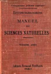 MANUEL DE SCIENCES NATURELLES, 3e ANNEE - Couverture - Format classique