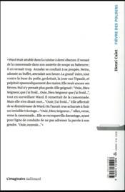 Fièvre des polders - 4ème de couverture - Format classique