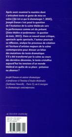 Absence et présence du texte théâtral - 4ème de couverture - Format classique