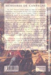 Mémoire de campagne - 4ème de couverture - Format classique