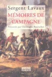 Mémoire de campagne - Couverture - Format classique