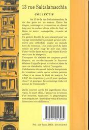 13 rue saltalamacchia ; 06000 nice - 4ème de couverture - Format classique