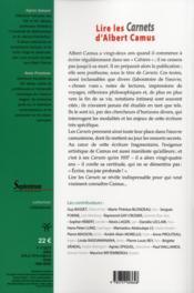 Lire les carnets d'albert camus - 4ème de couverture - Format classique