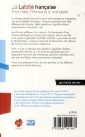 La laïcité française ; entre idée, l'histoire et le droit positif - 4ème de couverture - Format classique