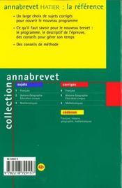 HISTOIRE-GEOGRAPHIE EDUCATION CIVIQUE BREVET. Corrigés, édition 2000 - 4ème de couverture - Format classique