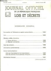 Journal Officiel de la République Française. Lois et Décrets. N°296 - 117e année - Couverture - Format classique