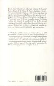 Poétique des ballades de Christine de Pizan (1363-1430) - 4ème de couverture - Format classique