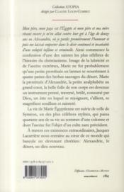 Vie de Sainte Marie Egyptienne pénitente ; vie de saint Syméon stylite - 4ème de couverture - Format classique