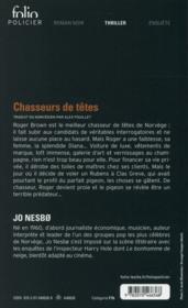 Chasseurs de têtes - 4ème de couverture - Format classique