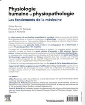 Physiologie humaine et physiopathologie ; les fondements de la médecine - 4ème de couverture - Format classique