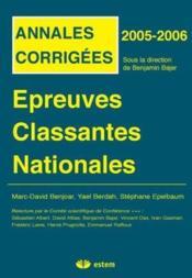 Épreuves classantes nationales 2005 ; annales corrigées - Couverture - Format classique