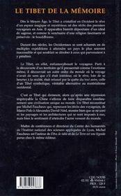 Le Tibet de la mémoire - 4ème de couverture - Format classique