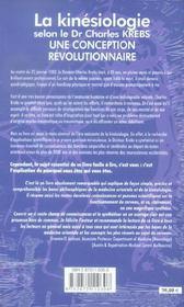 La Kinesiologie Selon Le Dr Charles Krebs - Une Conception Revolutionnaire - 4ème de couverture - Format classique