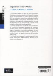 English for today's world ; society - 4ème de couverture - Format classique