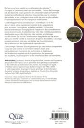 Méthodes de création de variétés en amélioration des plantes - 4ème de couverture - Format classique