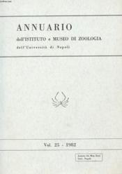 Annuario Dell'Istituto E Museo Di Zoologia Dell'Universita Di Napoli - Volume 25 - Couverture - Format classique