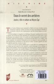 Dans le secret des archives ; justice, ville et culture au Moyen Age - 4ème de couverture - Format classique